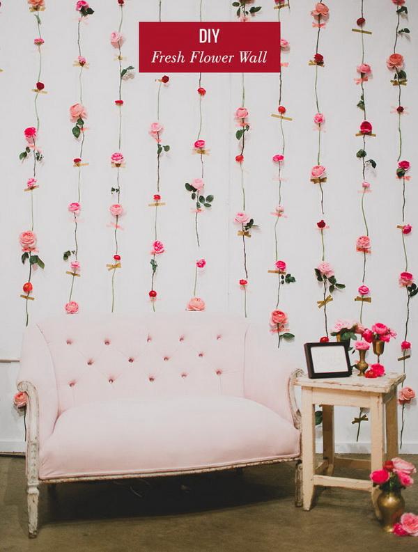 DIY Fresh Flower Wall.