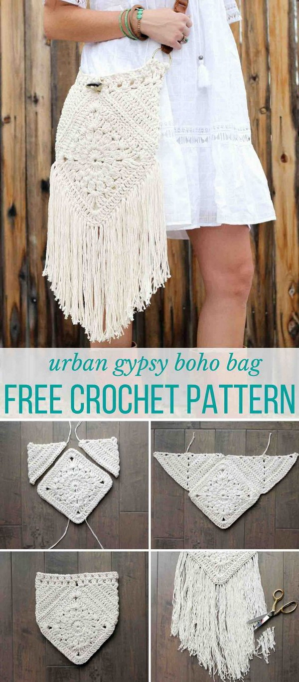 """Urban Gypsy Boho Crochet Bag. This """"Urban Gypsy"""" boho crochet bag is loaded with bohemian charm! It is perfect for packing a wallet, a snack and a water bottle for your next music festival or farmer's market."""