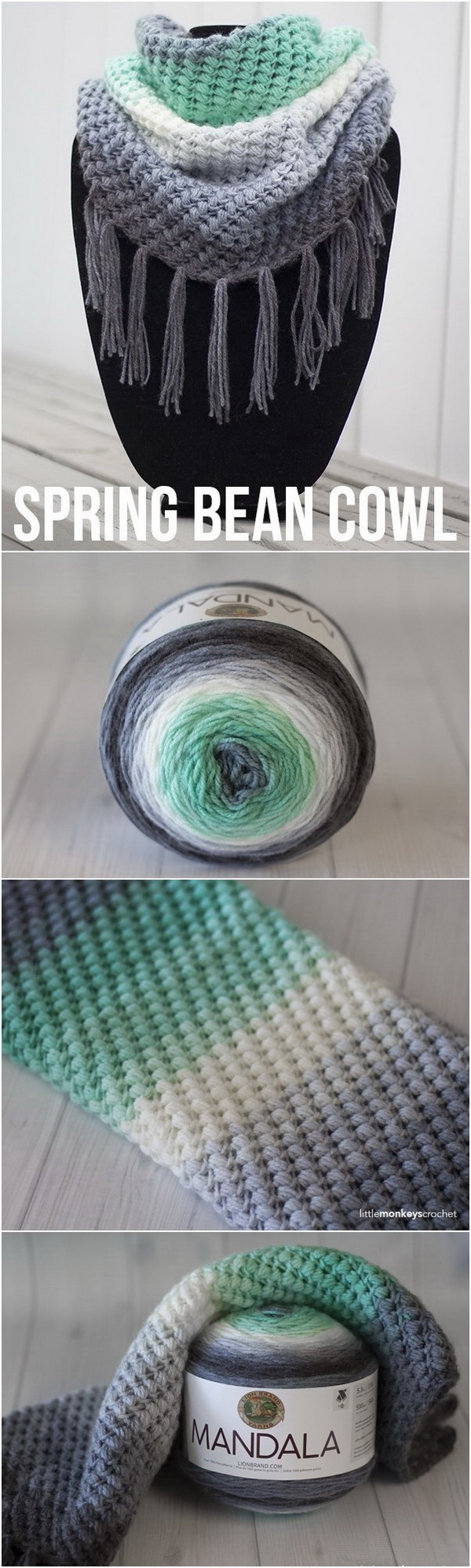 Crochet Spring Bean Cowl. Love the gorgeous gradient look of this crochet spring bean cowl! These crochet bean cowl for women are perfect for spring or cool days!