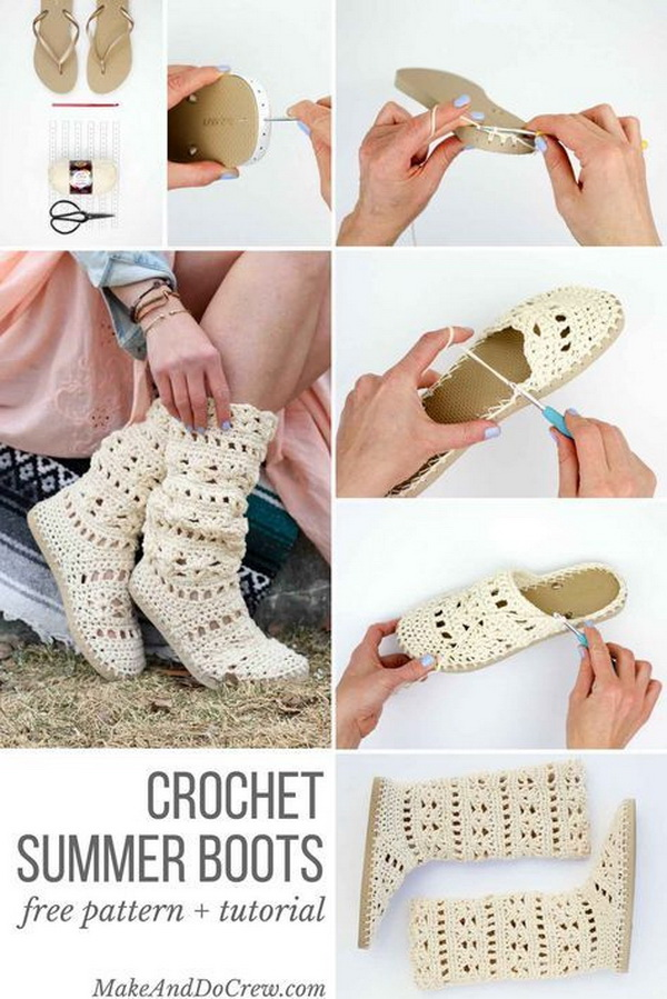 Free Crochet Boots Pattern With Flip Flop Soles.