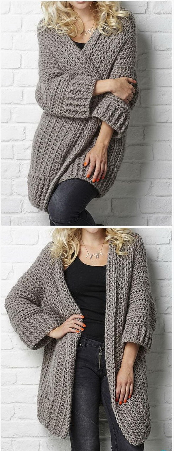 Crochet Big Chill cardigan Pattern. This crochet sweater coat in everyday style for women is great for cool days and keep you stylish!
