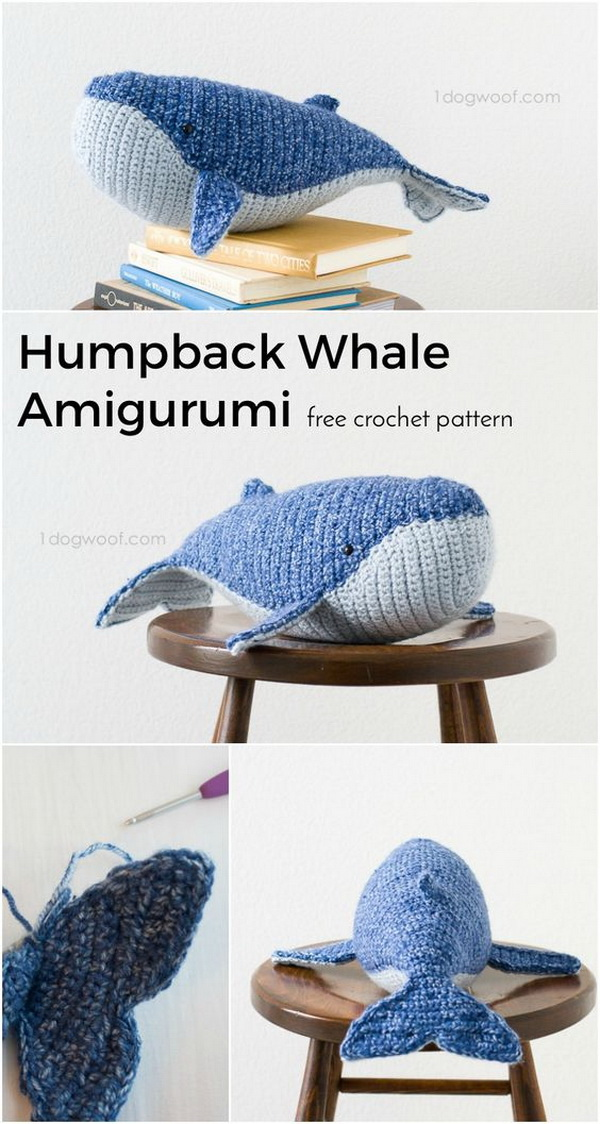 Baby Humpback Whale Crochet Pattern. Fun to crochet and play with! It looks adorable in kids's room.