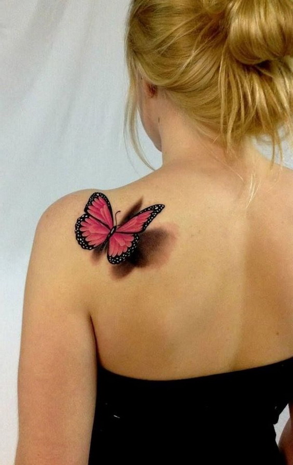 3D Butterfly Tattoo on Back of Shoulder.