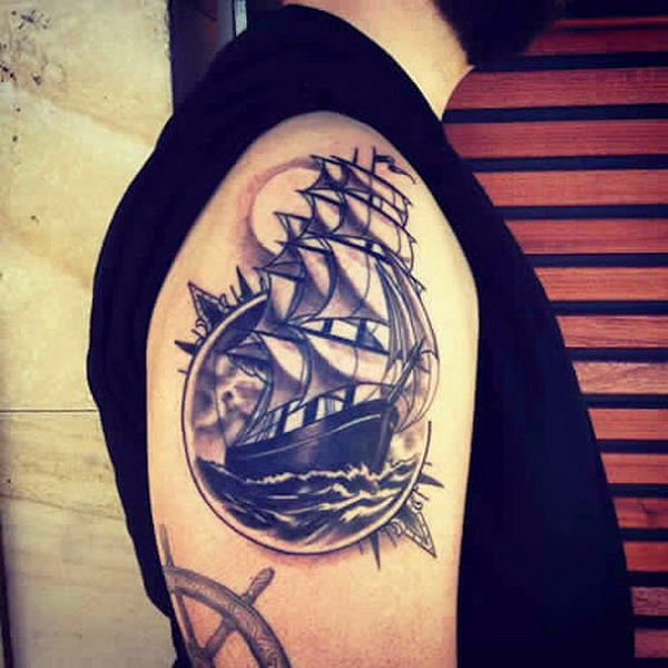 Ship and Moon Shoulder Tattoo Designs for Men.