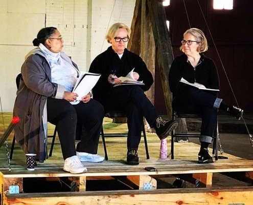 Forecast 2019 mid-career project grantee Pete Driessen sits on a platform with with PD and writer Susan Smith Grier and curator Sheila Dickinson at Brainerd NP Center for Turntable Talk on October 19, 2019.
