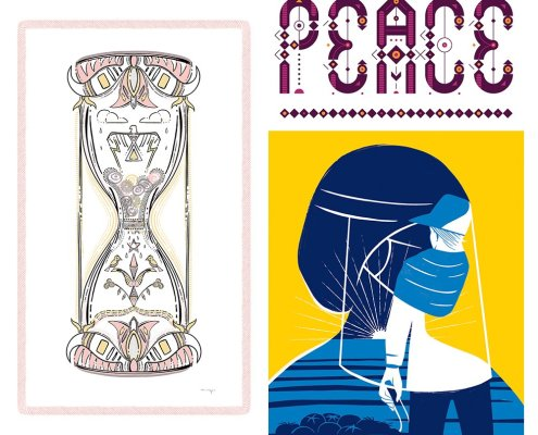 A grid of three uplifting posters with peace messages