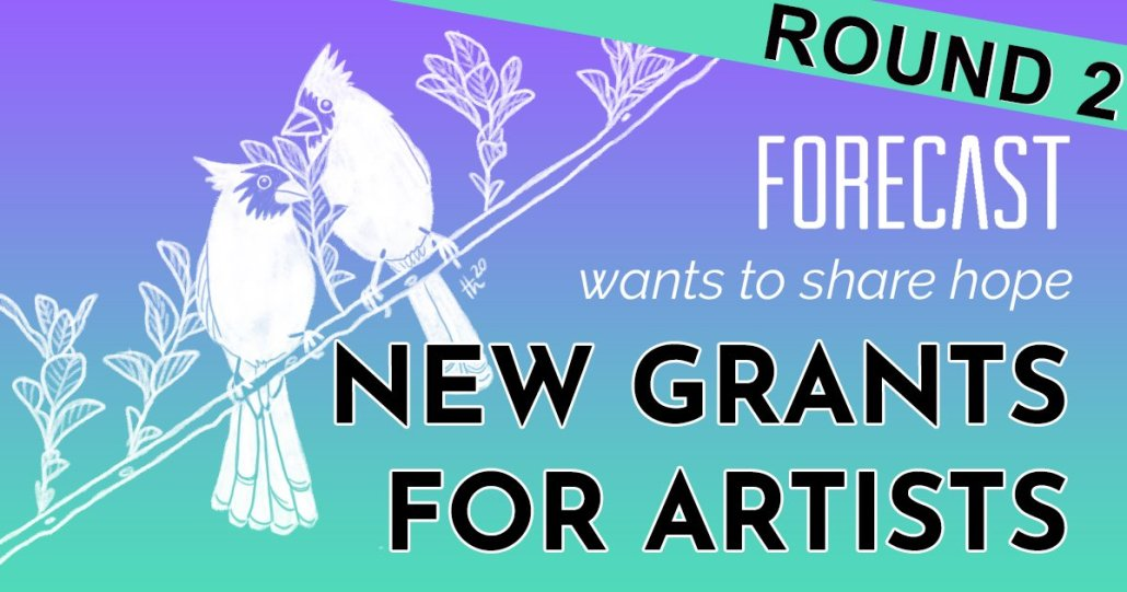 a banner reading round 2 overlays a graphic announcing new artist grants