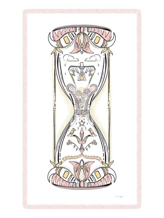 An uplifting illustration of a pink grayish purple and yellow hourglass includes stylized birds, shapes, and Native symbols. By Marlena Myles.