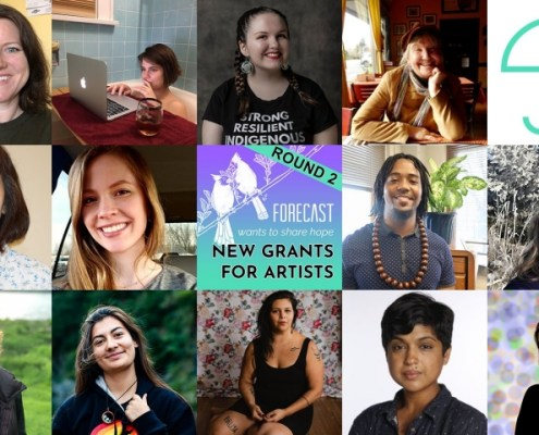 grid of 13 artist grantee portraits and two Forecast logos