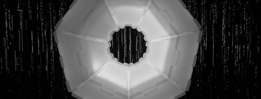 an illuminated, octagonal ring
