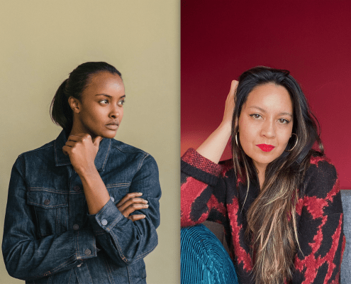 portraits of artist Muna Malik and curator Tricia Heuring