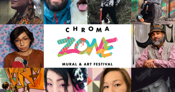 a grid of ten artist portraits with the Chroma Zone mural festival logo