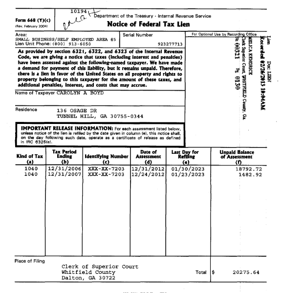 Carol Boyd's IRS Lien Just Filed From 2006