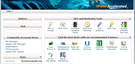 What the top of cPanel looks like