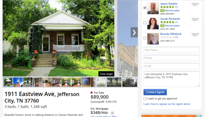Zillow Listing For 1911 Eastview Ave Jefferson City TN