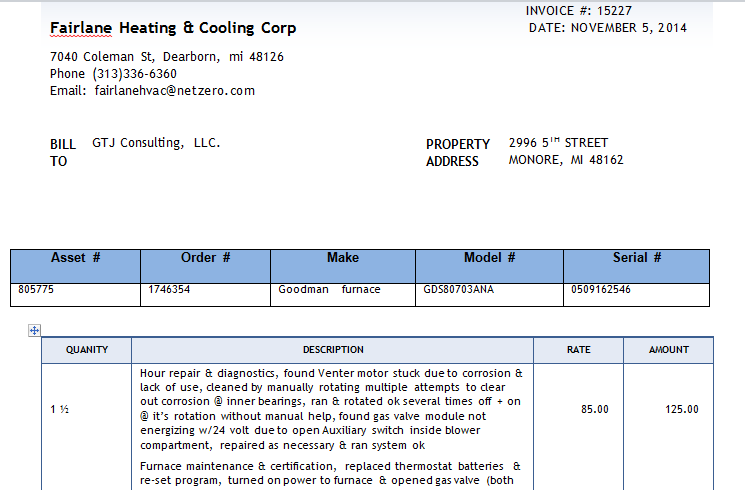 GTJ Consulting Displaying Invoices