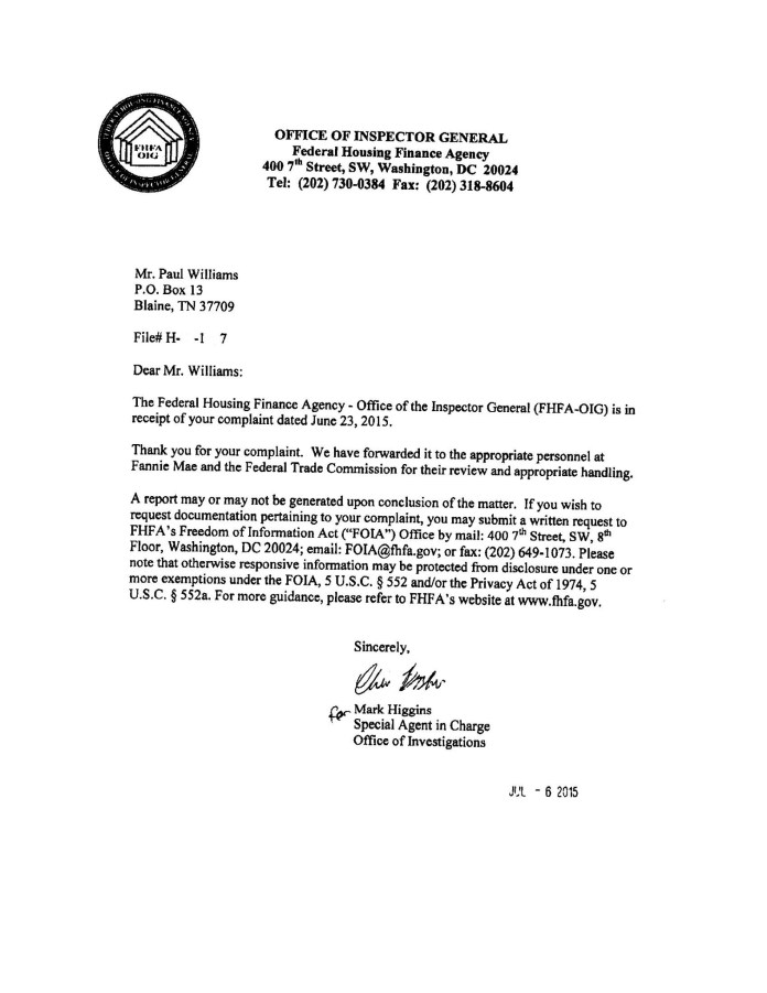 FHA Office of the Inspector General Complaint