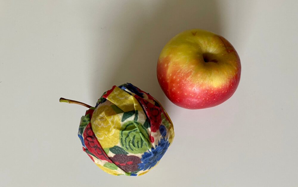 apple wrapped with Bee's wax wrap