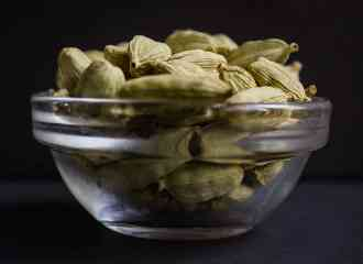 Cardamom Pods in a Glass Bowl