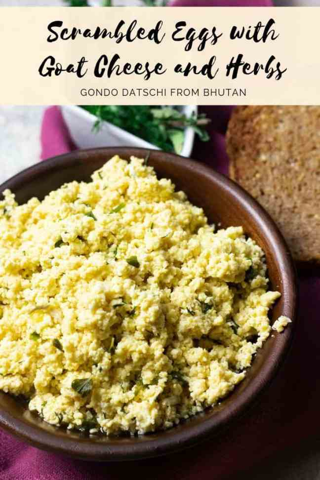Pinterest Graphic Scrambled Cheese with Goat Cheese and Herbs