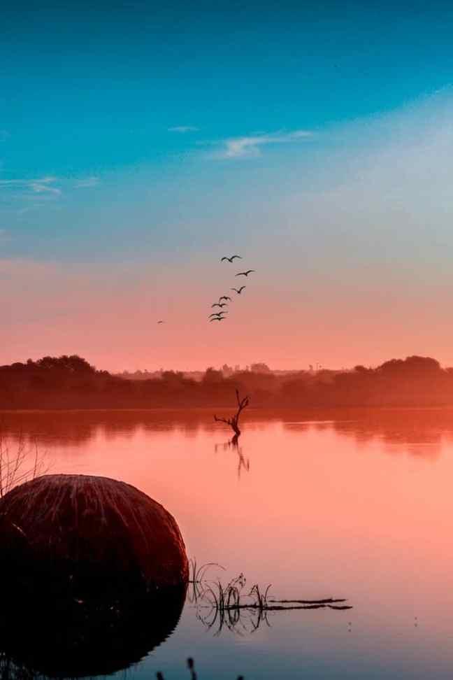 Sunset over the delta in Botswana