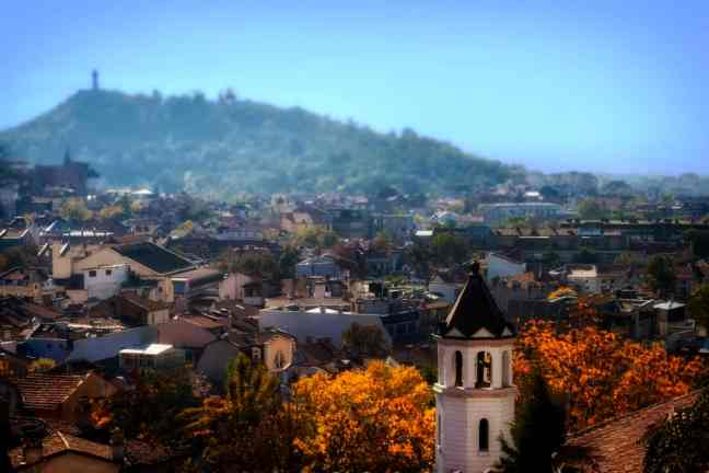 Ariel photo of town in Plovdiv, Bulgaria
