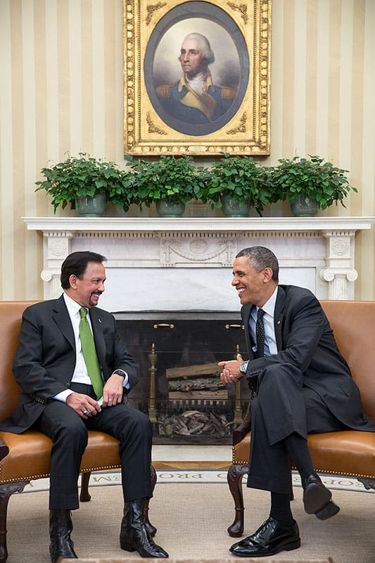 The sultan meets president Barack Obama