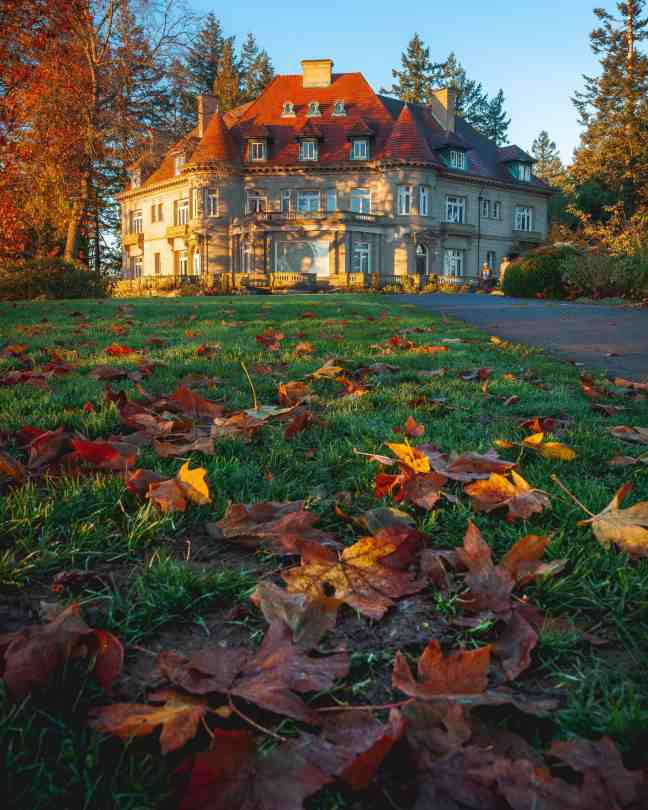 Colorful photo of Pittock Mansion during the fall