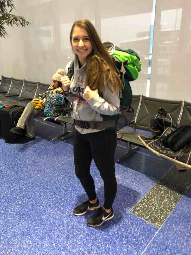 backpacking in airport