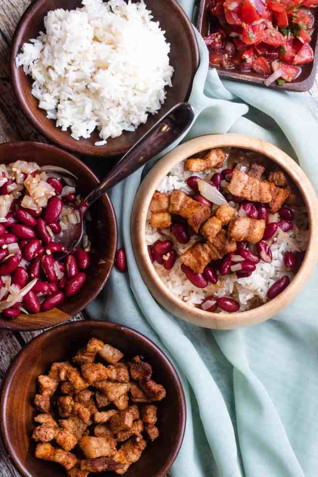 Rice bowl with chicharrones added