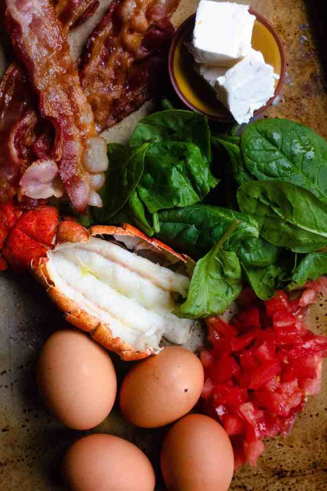 Ingredients for Lobster BLT Scramble