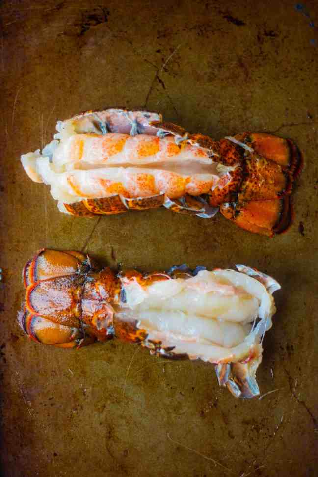 Lobster tails with cracked shells