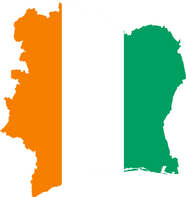 Ivory Coast flag in the shape of the country