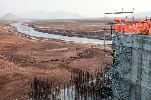 The construction of an Ethiopian dam on the Nile river is seen.
