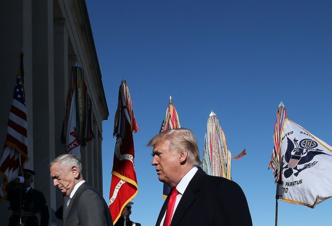 U.S. President Donald Trump and then-Defense Secretary Jim Mattis
