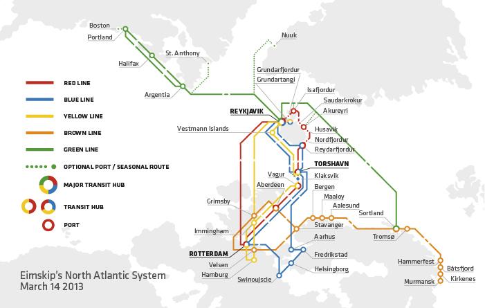 Eimskip's network. (c) Eimskip