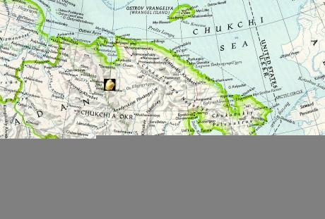 Map of Chukotka with Kupol gold mine. Map © UAF