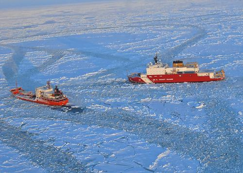 The CGC Healy and the Russian tanker Renda, near Nome.