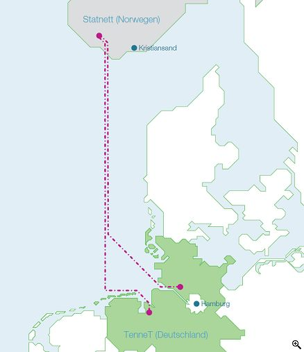 The planned Statkraft cables across the North Sea. (c) business-on.de