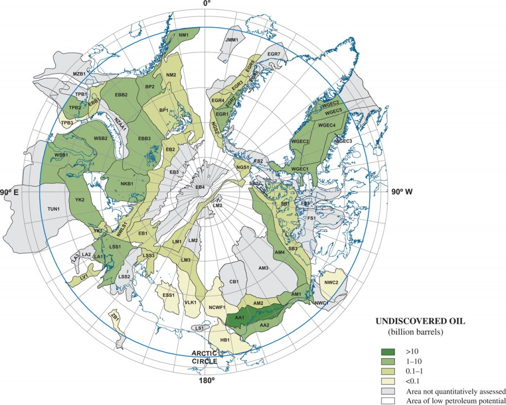 USGS Map of Undiscovered Oil in the Arctic.