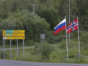 The border between Russia and Norway