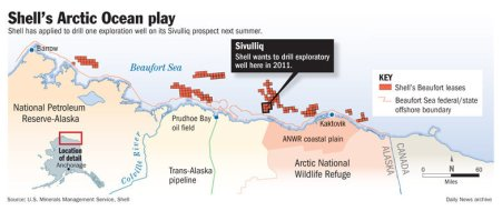 Shell's Desired Well Locations © Anchorage Daily News 2010