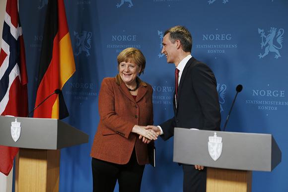 Merkel & Stoltenberg meet in Oslo. (c) Torbjørn Kjos Violence / SMK