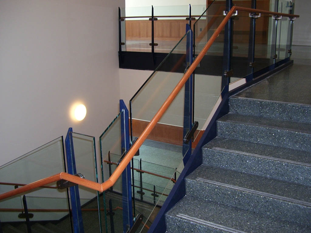 Painted Steel Guards Wood Railing On Glass Guardrail At Wash Univ | Glass Railing With Wood Handrail | Modern | Interior | Panel | Metal | Residential