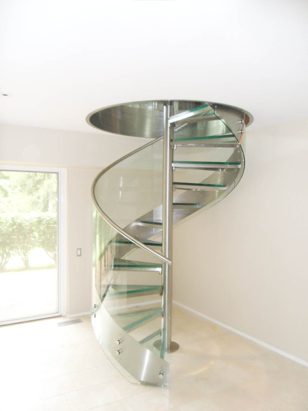 Stainless Steel And Glass Spiral Stair In Residence 4 Foreman   Stainless Steel Spiral Staircase   Custom Iron   Wooden   Indoor   Bronze   Top