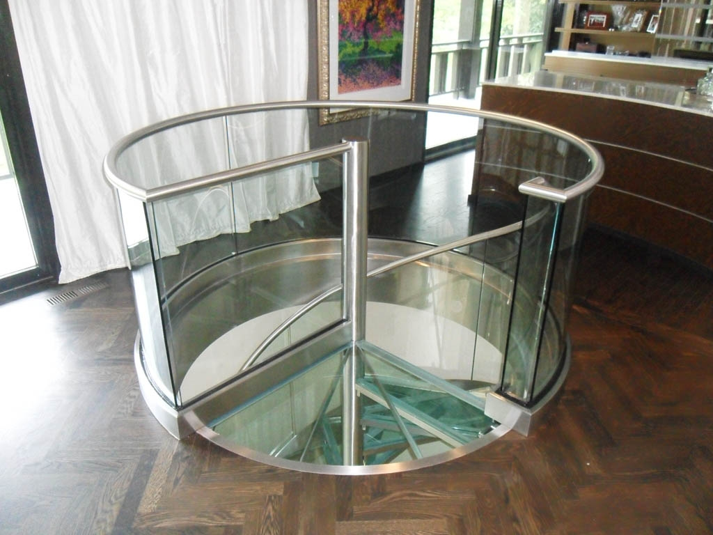 Spiral Staircase Foreman Fabricators Inc   Spiral Staircase With Glass Railing   Metal   Residential   In India Staircase   Contemporary Glass   Thin Glass