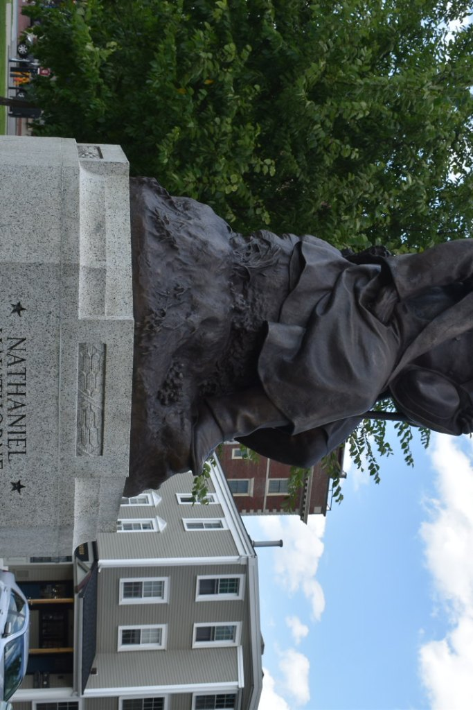 Statue of American author Nathaniel Hawthorne descendent of witch judge John Hawthorne