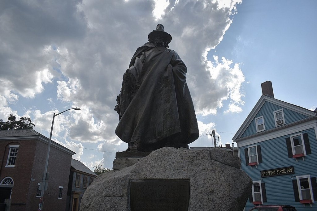 Statue of Roger Conant the founder of Salem stands outside the Salem Witch Museum