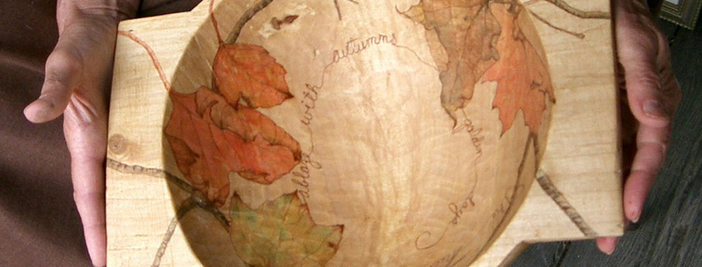 Hand Made Wooden Bowl with Etching and Artwork on the Inside