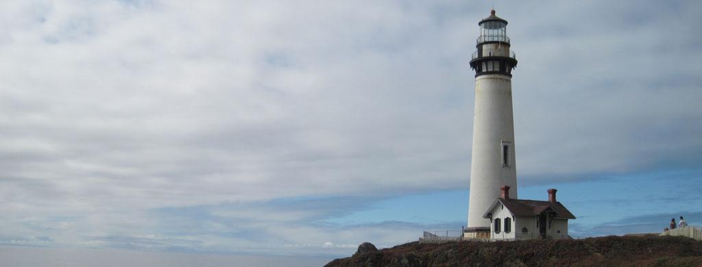 Historic Pigeon Point Lighthouse along California Coast between San Francisco and Big Sur